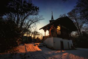 Обои Швейцария Берн Здания Храмы Зимние Вечер Снег город
