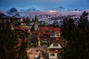 Обои Швейцария Здания Гора Дороги Вечер Крыша Gundlischwand  Canton of Berne город