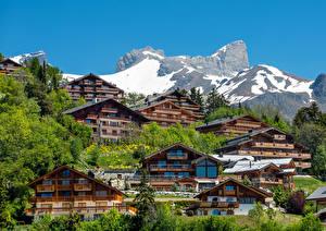 Фото Швейцария Горы Здания Bluche Crans-Montana Города