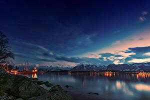 Фотография Швейцария Горы Озеро Камень Вечер Мхом Spiez Canton of Berne Природа