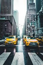 Обои Такси - Автомобили Штаты Дороги Нью-Йорк Улица NY taxi Города Автомобили