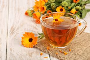 Обои Чай Ромашки Чашка Блюдце Продукты питания