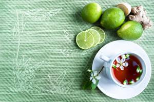 Фотография Чай Лимоны Чашке Лепестки Еда