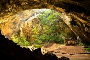 Картинки Таиланд Пагоды Пещера Деревья Phrayanakhon Cave Природа