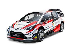 Обои Тойота Стайлинг Белый фон 2018 Yaris WRC Авто