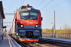 Фотография Поезда Локомотив Русские Спереди