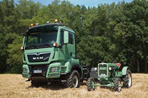 Картинки Грузовики Сельскохозяйственная техника 2 Трактор MAN AS 325 and MAN TGS 18.500 4×4 BLS Agrar-Sattelzugmaschine