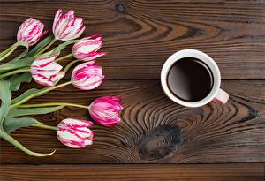 Фото Тюльпаны Кофе Доски Цветы