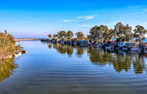Фотография Турция Побережье Пристань Корабли Катера Залив Anamur Mersin Природа