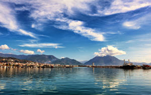 Фотография Турция Дома Причалы Горы Небо Залив Облака Carsi Alanya Antalya Города