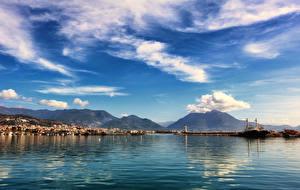 Фотография Турция Дома Причалы Горы Небо Залива Облака Carsi Alanya Antalya Города