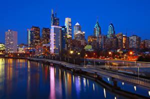 Обои Америка Дома Реки Мосты Вечер Небоскребы Philadelphia Города