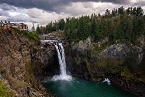 Картинки Штаты Водопады Вашингтон Скала Мох Snoqualmie Falls