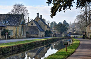 Фотографии Великобритания Здания Речка Улица Lower Slaughter Cotswolds