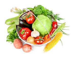 Фото Овощи Капуста Картошка Томаты Кукуруза Перец Белый фон