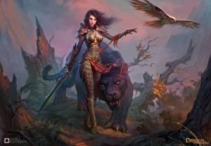 Картинка Воины Волшебные животные Драконы вечности Мечи Броня Игры Фэнтези Девушки