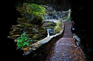 Обои Водопады Пещера Листва Лестница Природа