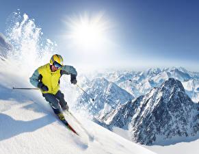 Фотография Зима Лыжный спорт Мужчина Гора Снегу Очки спортивный