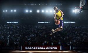 Картинки Баскетбол Мужчины Мячик Прыгает Униформа