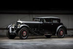 Картинки Бентли Ретро Черный 1930 Speed 6 Sportsman's Saloon by Corsica автомобиль