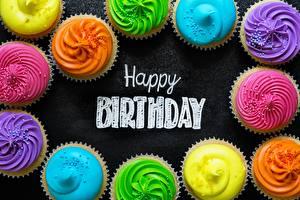 Фотографии День рождения Капкейк кекс Английский Еда