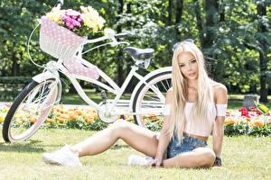 Картинка Букеты Блондинка Сидит Велосипед Корзинка Смотрит Красивые Девушки
