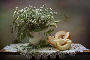 Обои Букеты Ромашки Дыни Натюрморт Стол Ваза Еда Цветы