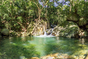 Фото Бразилия Парки Водопады Камни Рио-де-Жанейро Природа