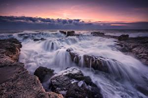 Картинка Болгария Рассветы и закаты Берег Камень Волны Tulenovo Природа