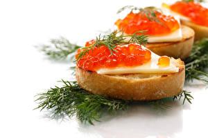 Фотография Бутерброды Морепродукты Икра Укроп Белый фон Пища