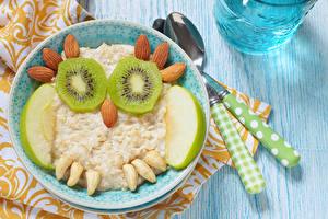 Картинки Креатив Совообразные Орехи Киви Яблоки Мюсли Доски Тарелка Пища