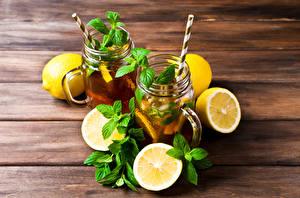 Фото Напитки Лимоны Доски Вдвоем Листва Мятой Пища