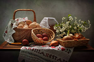 Фотографии Пасха Праздники Лук репчатый Корзина Яйца Ветвь