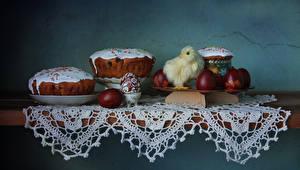 Фотографии Пасха Выпечка Кулич Птенцы Стол Яйца Пища