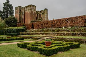 Обои Англия Замки Парки Дизайн Кусты Kenilworth Castle and Elizabethan Garden Природа