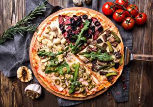 Фотография Фастфуд Пицца Помидоры Оливки Продукты питания