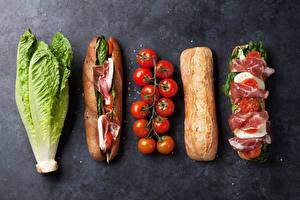 Картинка Быстрое питание Сэндвич Булочки Ветчина Томаты Капуста Серый фон