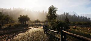 Обои Поля Рассветы и закаты Деревья Забор Montana 3D Графика Природа