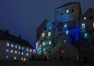 Картинка Финляндия Замки Ночь Turun linna Turku Города
