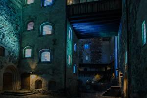 Обои Финляндия Замки Ночные Уличные фонари Turun linna Turku