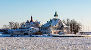 Картинки Финляндия Хельсинки Дома Зима Особняк Снег Города