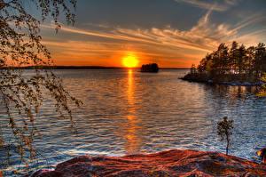 Фотографии Финляндия Рассветы и закаты Реки Солнце Деревья Murikka Природа