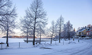Фото Финляндия Зимние Здания Дороги Снег Деревья Naantali Природа