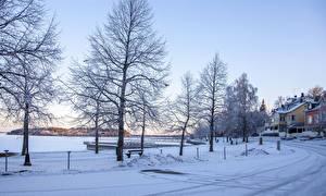 Фото Финляндия Зимние Дома Дороги Снег Дерева Naantali Природа