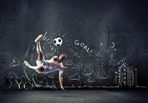 Обои Футбол Мужчины Мяч Прыжок