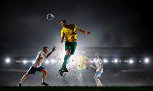 Обои Футбол Мужчины Прыжок Мяч