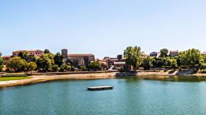 Обои Франция Дома Реки Берег Besse-sur-Issole Города
