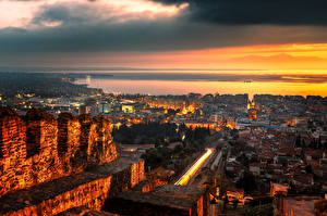 Фотография Греция Здания Дороги Вечер Thessaloniki