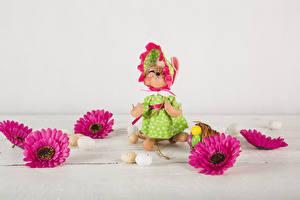 Фото Праздники Пасха Хризантемы Кролик Яйца цветок