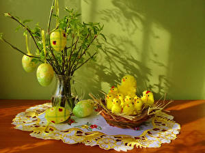 Картинка Праздники Пасха Птенцы Яйцо Гнезда